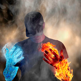 confliction  by Nick Morris - Digital Art People ( ice, smoke, fire )
