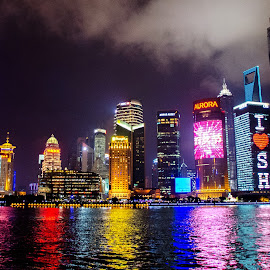Shanghai Skyline at night by Hitansu Sahoo - City,  Street & Park  Skylines ( skyline, city lights, city skyline, shanghai, nightscape )