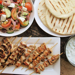 Chicken Souvlaki with Tzatziki Sauce and Greek Salad