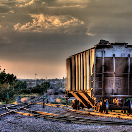 Lone Box Car by Dave Zuhr - Transportation Trains ( car, train, box, tracks, d_zuhr, dzuhr,  )