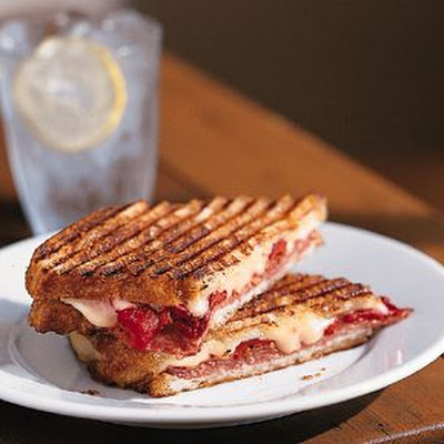 Salami, Fontina and Roasted Bell Pepper Panini