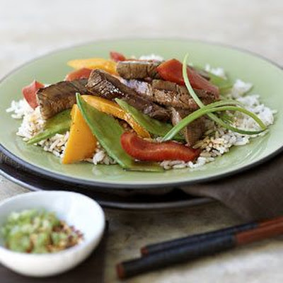 Beef Stir-Fry with Peppers and Snow Peas