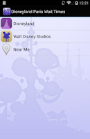 Screenshot of Disneyland Paris Wait Times