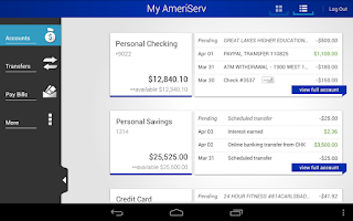 Screenshot of AmeriServ Bank Mobile Banking