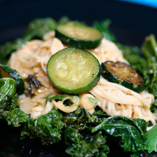 Noodles with Peanut Sauce, Kale, and Zucchini