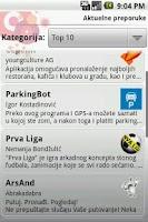 Screenshot of Android Vip Meni