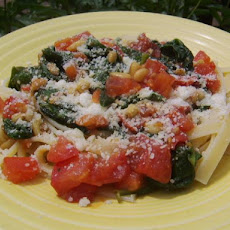 Spinach, Tomato, and Pine Nut Fettuccine