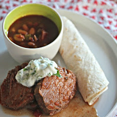 Slow Cooker Mexican Beef With Lime Crema and Pinto Beans