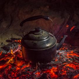 Coffee is Ready by Ronen Rosenblatt - Food & Drink Cooking & Baking ( coffee, burning, campfire, pot, fire )