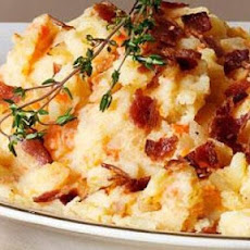 Mashed Potatoes with Fried Mushroom, Bacon, and Onion