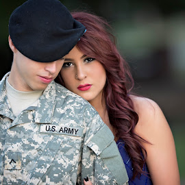 Love by Carole Brown - People Couples ( brown eyes, red hair, uniform, beautiful, red lips, military )