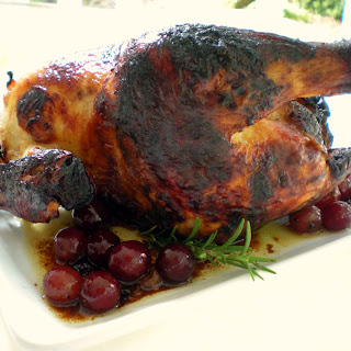Roast Chicken With Honey, Grapes, Rosemary And Thyme