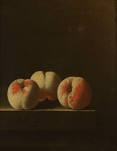 RIJKS: Adriaen Coorte: Three Peaches on a Stone Plinth 1705