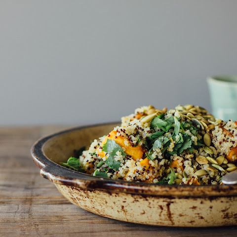 Ginger Roasted Pumpkin + Quinoa Salad W/ Mint, Chilli + Lime