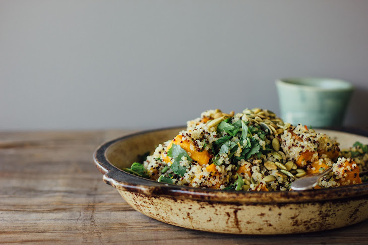 ... Roasted Pumpkin + Quinoa Salad W/ Mint, Chilli + Lime Recipe | Yummly