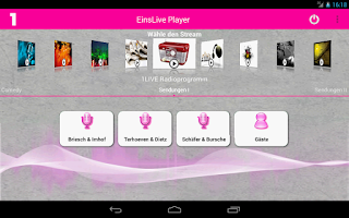 Screenshot of EinsLive Radio Player