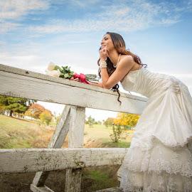 Bride on Bridge by Devin Donnelly - Wedding Bride ( love, blue sky, wedding, lady, bridge, marriage )