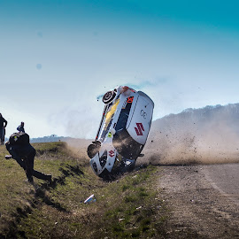 The middle of a crash! by Lorentz Botond - Sports & Fitness Motorsports ( car, rally, suzuki, car action, romanian rally championship, tuning,  )