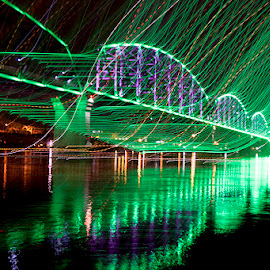 The Big Four Bridge by Terry Fultineer - Abstract Light Painting ( night photography, long exposure )