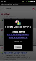 Screenshot of Folkets Lexikon Offline