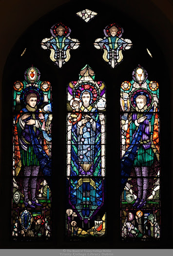 Finished stained glass window in the chapel of Belvedere College in North Dublin.