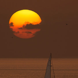 Perfect End To A Perfect Day! by Pinoy Photog - Landscapes Sunsets & Sunrises ( sunset at sea, sunset, sundown, sea, ocean, boat, sailboat,  )