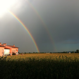 Two rainbows at the same time. by Andrea Cassar - Landscapes Weather