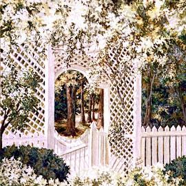Evelynton Plantation Garden by Jennifer Wheatley-Wolf - Painting All Painting ( evelynton plantation, watercolor, jennifer wheatley-wolf, trellis, painting, garden )