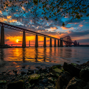 Dusk at Forth by Craig Fraser - Buildings & Architecture Bridges & Suspended Structures