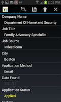 Screenshot of Job Application Db