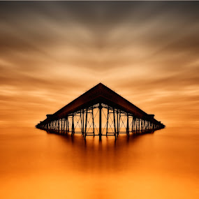 On Golden Pond by CLINT HUDSON - Landscapes Waterscapes ( orange, ramsey, sunset, iron pier, isle of man, pier, queens pier )