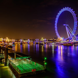 London Eye by Francis Mridha - City,  Street & Park  Night ( reflections, cityscape, travel, nightscape, colours, city, lights, london eye, night photography, london, long exposure, night, river thames )