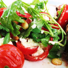 Goats Cheese Salad With Tomatoes, Peppers and Rocket