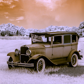 Model A by David Ubach - Transportation Automobiles ( model a, car, vintage, infrared, auto, landscape, ford, antique )