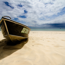 Beached by Howard Ferrier - Transportation Boats ( clouds, sand, tangalooma, cloudburst, quensland, moreton island, shadow, beach, storm, dinghy )