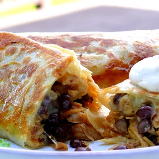 Cheesy Chicken and Black Bean Burritos