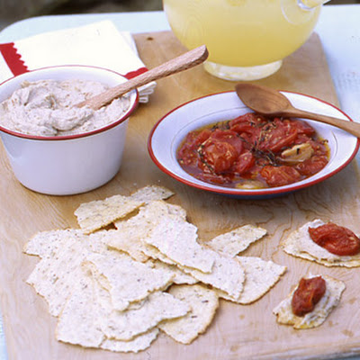 Smoked-Bluefish Pate with Roasted Tomatoes on Crackers