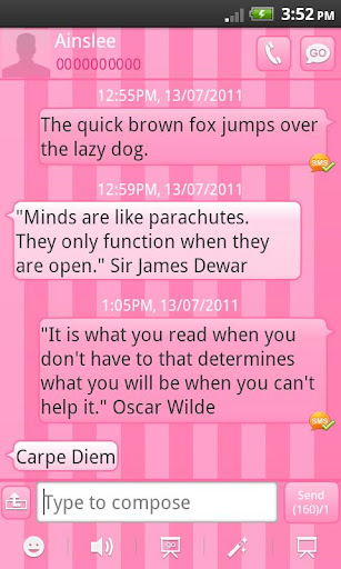 GO SMS Theme Candy Pink