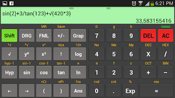Screenshot of Kal Scientific calculator