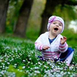 Tedka by Emil Georgiev - Babies & Children Child Portraits ( child, meadow, trees, flowers, emotion )