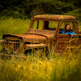 Young and Old (cropped) by Rob Germain - Transportation Automobiles ( field, pick up truck, girl, meadow, rust,  )