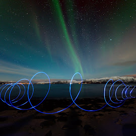Playing with leds under the northern light by Marius Birkeland - Abstract Light Painting ( sky, light painting, led, aurora borealis, aurora )