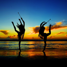 Sunrise Duet by Athletes In Focus - Sports & Fitness Other Sports ( athletes in focus, twirling, usta, nbta, baton,  )