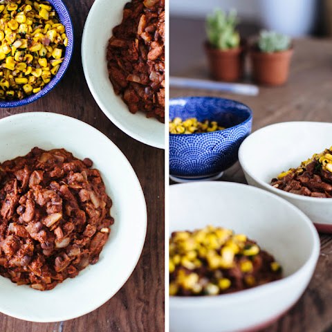 CHOCOLATE CHILI WITH SEARED CORN
