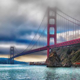Golden Gate Bridge - Looking South by Jackie Stoner - Buildings & Architecture Bridges & Suspended Structures ( golden gate bridge, hdr, california, red and blue, san francisco )