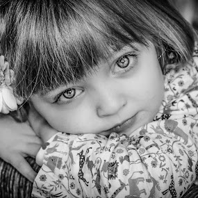 by Nathalie Gemy - Black & White Portraits & People ( girl child, childgirl, girl flower, black and white, child portrait, children )
