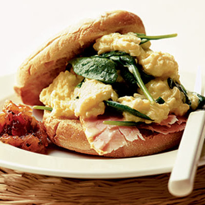 Spinach & Ham Scrambled Eggs