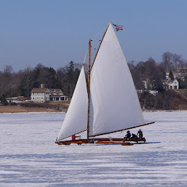 Iceboating on the Navesink by Linda Ensor - Transportation Boats