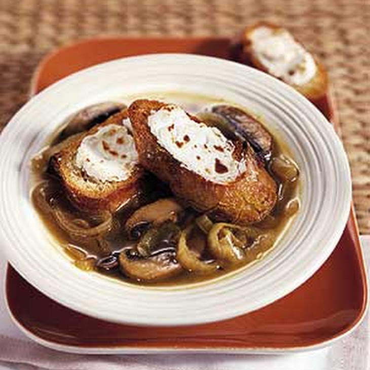 Caramelized Onion and Portobello Mushroom Soup with Goat Cheese Croutons
