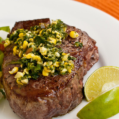 Steaks with Cilantro-Corn Gremolata